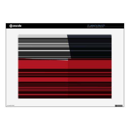 El blanco negro rojo del vintage raya el modelo de portátil skin