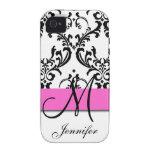 El blanco negro rosado con monograma remolina dama iPhone 4/4S carcasa