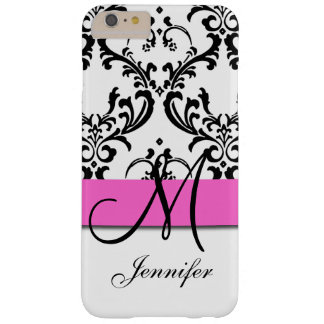 El blanco negro rosado con monograma remolina funda para iPhone 6 plus barely there