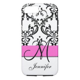 El blanco negro rosado con monograma remolina funda iPhone 7