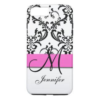 El blanco negro rosado con monograma remolina funda iPhone 7 plus
