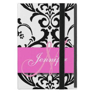 El blanco negro rosado con monograma remolina iPad mini funda