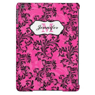 El blanco negro rosado del monograma remolina caja funda para iPad air