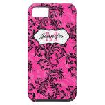 El blanco negro rosado del monograma remolina caso iPhone 5 protectores