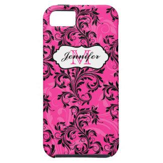 El blanco negro rosado del monograma remolina caso funda para iPhone SE/5/5s