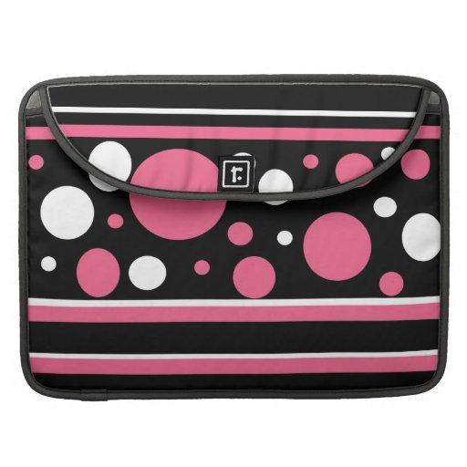 El blanco negro rosado lindo raya el modelo de lun fundas macbook pro
