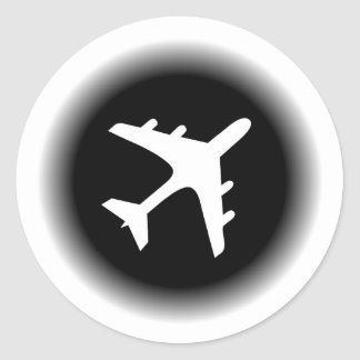 El blanco negro se descolora diseño del aeroplano pegatina redonda