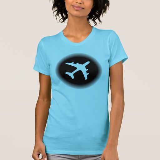 El blanco negro se descolora diseño del aeroplano camisetas