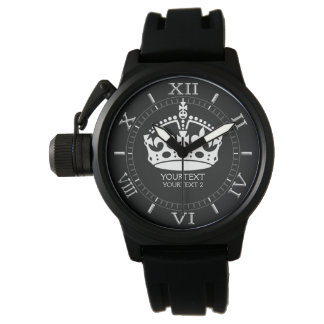 El blanco personalizado guarda la corona tranquila relojes de mano