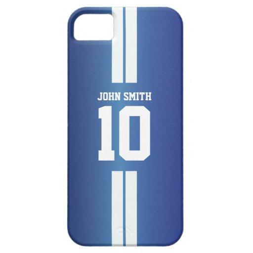 El blanco raya la caja azul del iPhone 5 del jugad iPhone 5 Case-Mate Cobertura