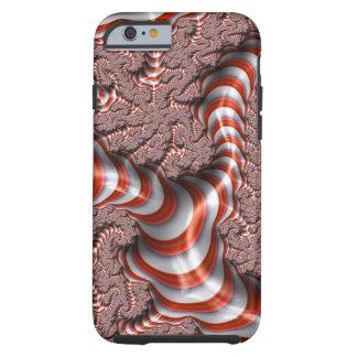 El blanco rojo abstracto del fractal raya el fondo funda de iPhone 6 tough