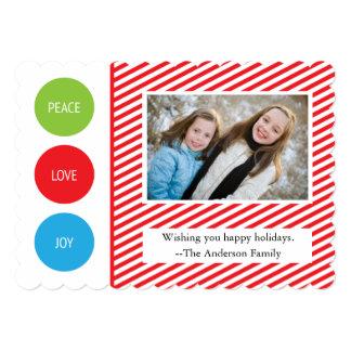 El blanco rojo de la alegría del amor de la paz invitación 12,7 x 17,8 cm