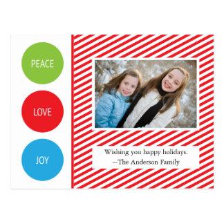 El blanco rojo de la alegría del amor de la paz tarjetas postales