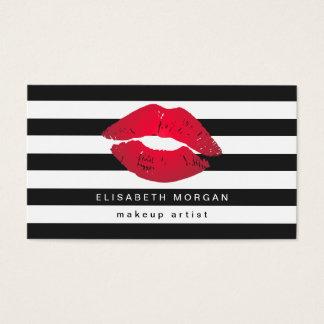 El blanco rojo del negro de los labios raya al tarjetas de visita