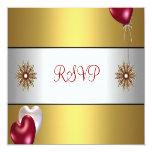 El blanco rojo del oro del fiesta de RSVP hincha Invitación 13,3 Cm X 13,3cm