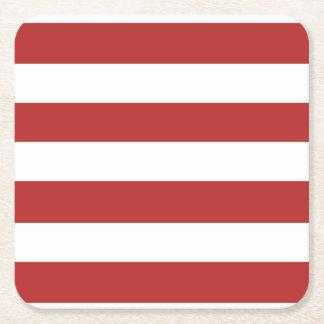 El blanco rojo moderno raya el rojo y el whi de posavasos personalizable cuadrado