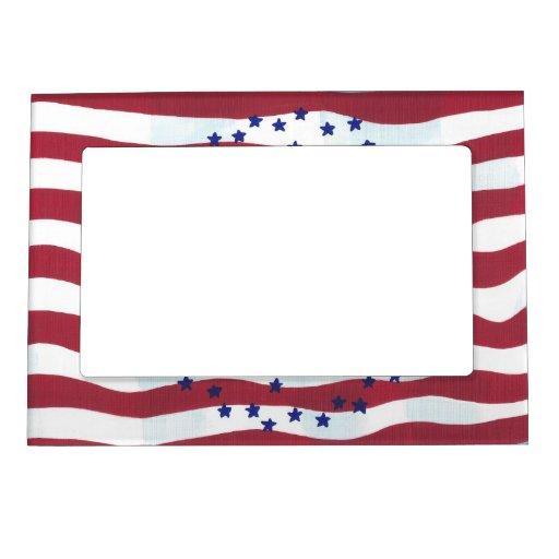 El blanco rojo raya marcos magnéticos de la foto