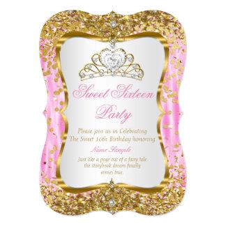 """El blanco rosado del oro de princesa Sweet 16 de Invitación 5"""" X 7"""""""