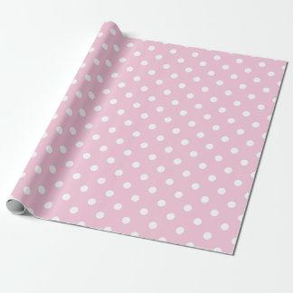 El blanco rosado lindo puntea el papel de embalaje papel de regalo