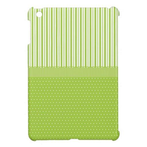 El blanco verde raya lunares con una cinta iPad mini protectores