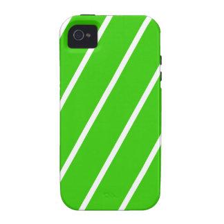 El blanco verde simple raya la caja del iPhone 4 Case-Mate iPhone 4 Funda