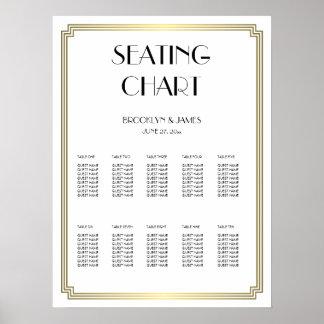 El blanco y el asiento del boda del oro trazan el póster
