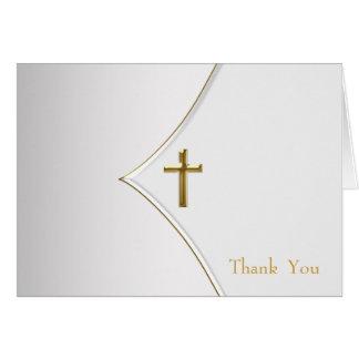 El blanco y el bautizo cruzado del oro le agradece tarjetas