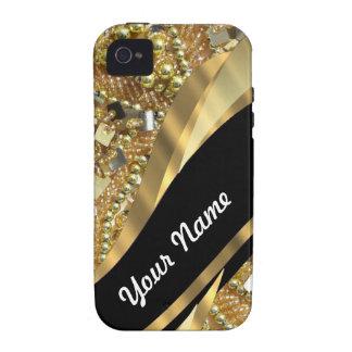 El bling del oro y modelo negro del remolino iPhone 4 carcasa