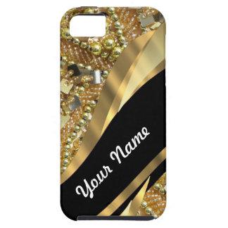 El bling del oro y modelo negro del remolino iPhone 5 protector