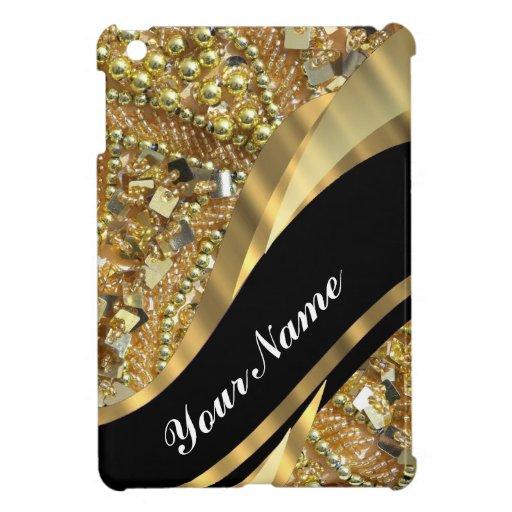 El bling del oro y modelo negro del remolino iPad mini protectores