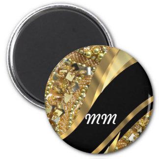 El bling del oro y modelo negro del remolino imán redondo 5 cm