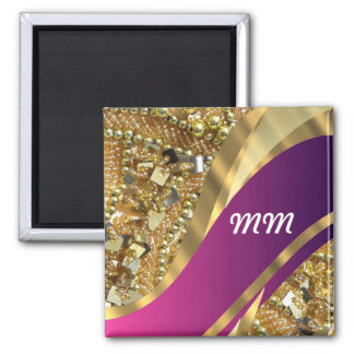 El bling del oro y remolino magenta imán cuadrado