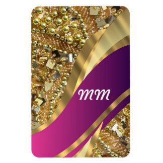 El bling del oro y remolino magenta iman rectangular