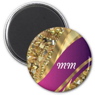 El bling del oro y remolino magenta imán redondo 5 cm