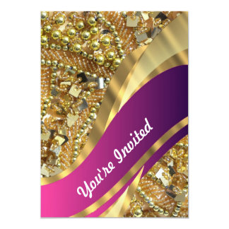 El bling del oro y remolino magenta invitaciones personalizada