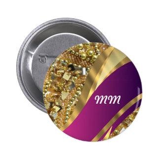 El bling del oro y remolino magenta pin