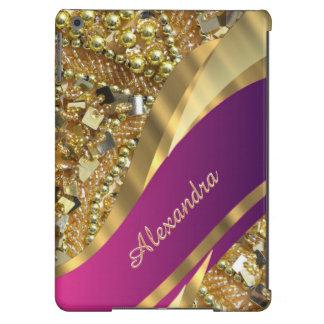 El bling elegante del rosa y del oro personalizado funda para iPad air