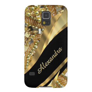 El bling elegante elegante del negro y del oro carcasa galaxy s5