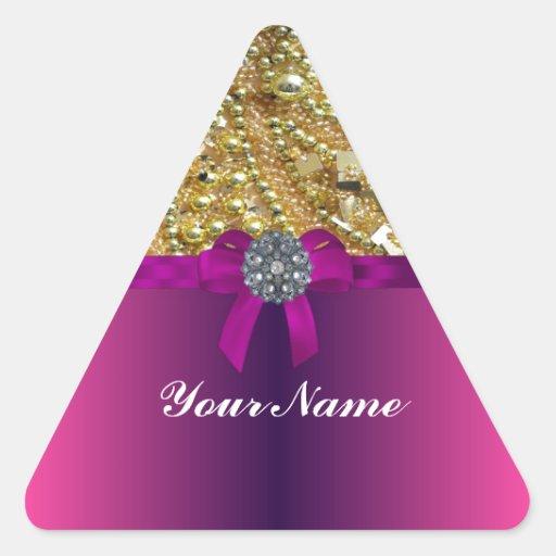 El bling y magenta del oro calcomanías trianguloes