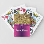 El bling y magenta del oro cartas de juego
