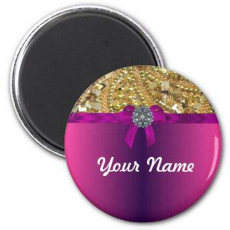 El bling y magenta del oro imán redondo 5 cm