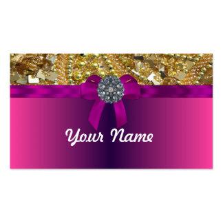 El bling y magenta del oro plantilla de tarjeta de negocio