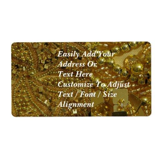 El bling y perlas del oro etiqueta de envío