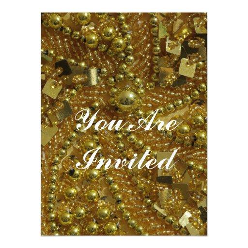 """El bling y perlas del oro invitación 6.5"""" x 8.75"""""""