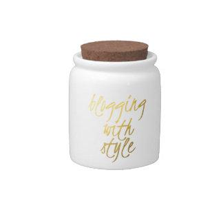El Blogging con el estilo - escritura del oro Platos Para Caramelos