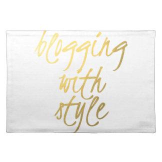 El Blogging con el estilo - escritura del oro Manteles Individuales