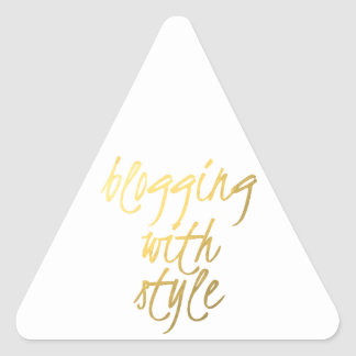 El Blogging con el estilo - escritura del oro Calcomanía Triangulo Personalizadas