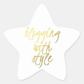 El Blogging con el estilo - escritura del oro Calcomanías Forma De Estrella