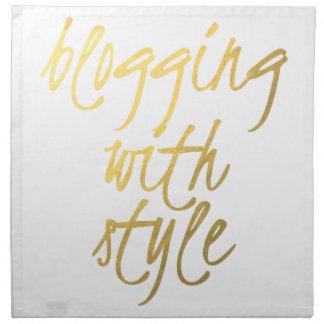 El Blogging con el estilo - escritura del oro Servilletas Imprimidas