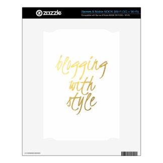 El Blogging con el estilo - escritura del oro Calcomanías Para NOOK